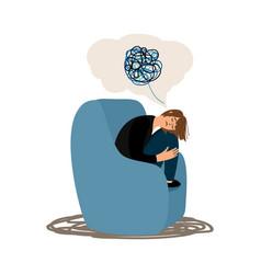 Depressed girl tangled brain vector