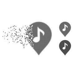 Disappearing pixel halftone music marker icon vector