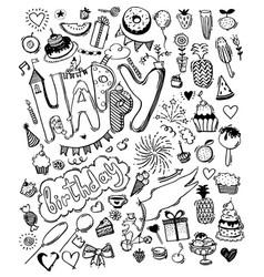 Doodle hand drawn sketch set happy birthday vector