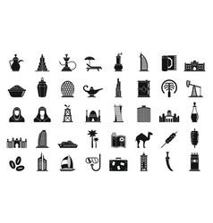 Dubai icons set simple style vector