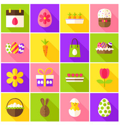 easter spring colorful icons vector image