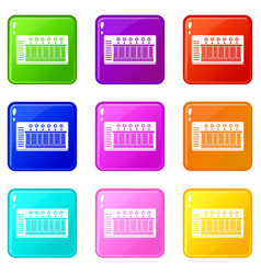 electronic synth icons 9 set vector image vector image