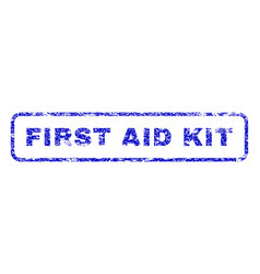 First aid kit rubber stamp vector