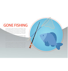 fishing poster with fish and rod hooks fisher vector image