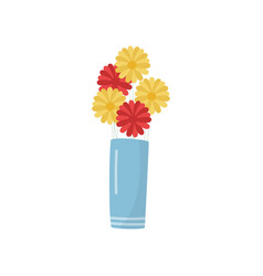 flat icon of blue vase with bright yellow vector image
