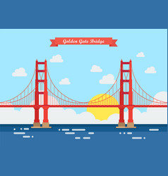 Flat style golden gate bridge vector