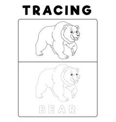 Funny bear tracing book with example preschool vector