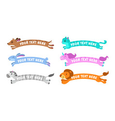 funny cute cartoon simple animal banners vector image