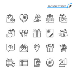 gift line icons editable stroke vector image