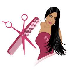 girl and hair set vector image