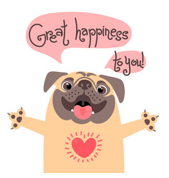 Greeting card with cute dog sweet pug vector