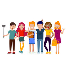 Group of cute happy teenagers having fun standing vector