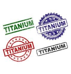 Grunge textured titanium stamp seals vector