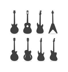 Guitar silhouette set vector