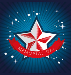happy memorial day celebration star with usa flag vector image