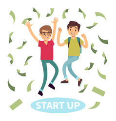 Happy successful students in money rain start up vector