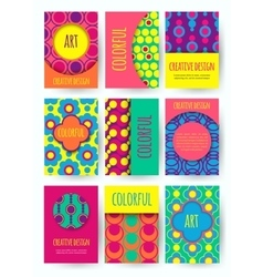 Hippie card with colorful pattern set of vector