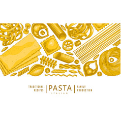 Italian pasta design template hand drawn food vector