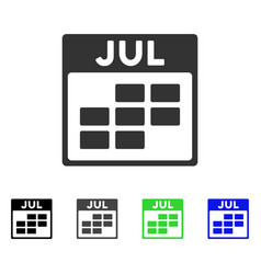 July calendar grid flat icon vector