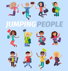Jumping people twelve happy students flat design vector