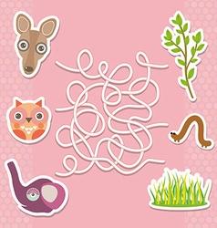 Kangaroo owl elephant labyrinth game for Preschool vector image