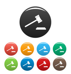legal gavel icons set color vector image