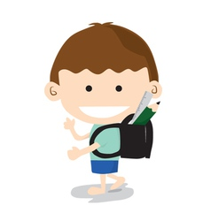 Little Boy Go To School vector image