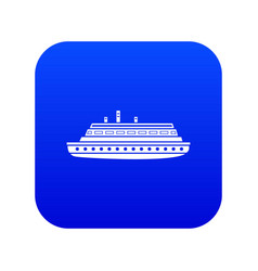 long ship icon digital blue vector image