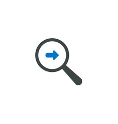 magnifying glass icon right arrow icon vector image