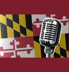 Maryland flag and microphone vector
