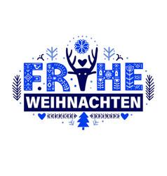 merry christmas in german - frohe weihnachten vector image