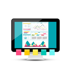 Modern web design with graphs on dashboard pc vector