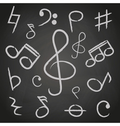 music note icons on black board eps10 vector image