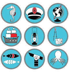 Nautical elements type 3 icons in knottet circle vector