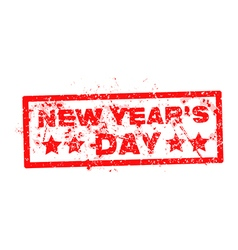 new years day with red text rubber stamp vector image