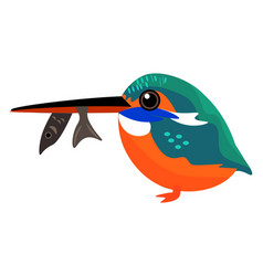 Painting a colorful kingfisher with a fish vector