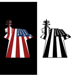 Patriotic us aircraft carrier american flag vector