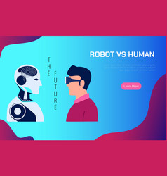 robot vs human ai artificial intelligence replace vector image