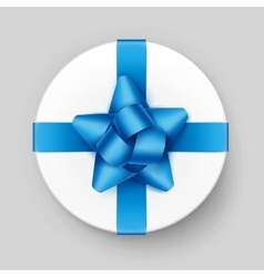 Round gift box with blue azure bow and ribbon vector