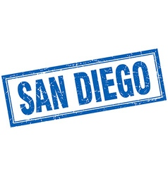 San diego blue square grunge stamp on white vector