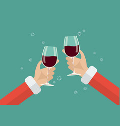 santa toasting a wine glasses vector image