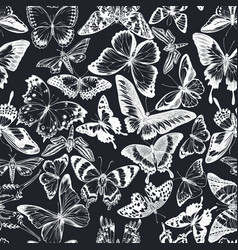 Seamless pattern with hand drawn chalk jungle vector