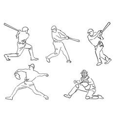 Set baseball players pitcher batter catcher vector
