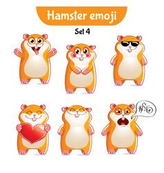 Set of cute hamster characters set 4 vector
