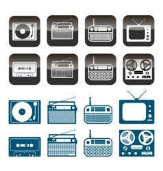 set radio audio and music icons vector image