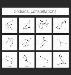 Set zodiacal constellations in square white vector