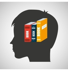 Silhouette head boy student learning library vector
