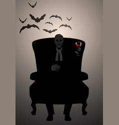 Silhouette of man sitting in an armchair holding vector