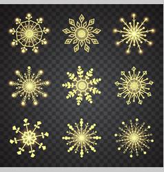 Snowflake set 9 yellow snowflakes on black vector
