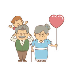 Standing grandparents with balloon holding her vector